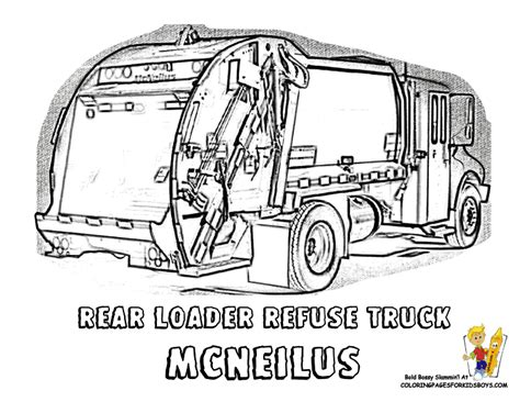 Coloring Page Garbage Truck by Grimy Garbage Truck Coloring Page Garbage Trucks Free
