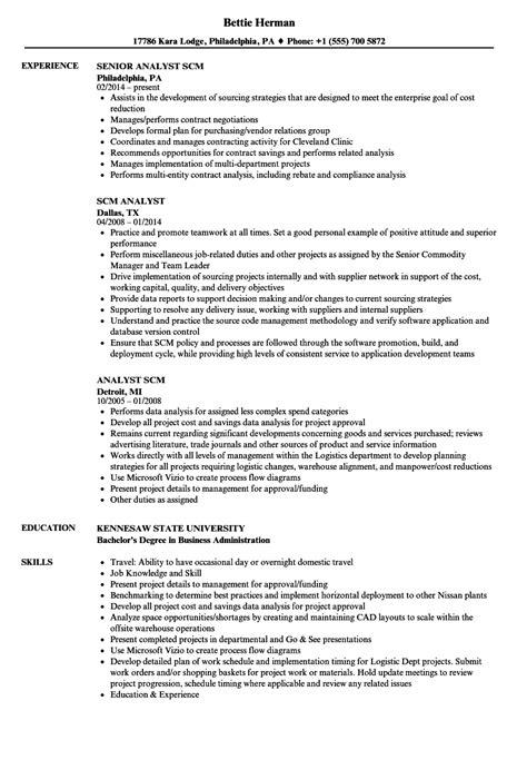 scm resume format scm analyst resume sles velvet