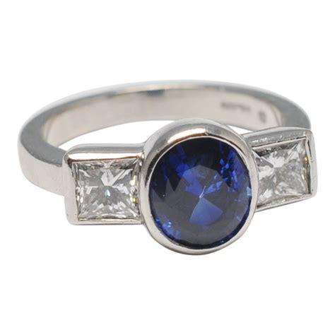 sapphire diamond trilogy platinum engagement ring plaza