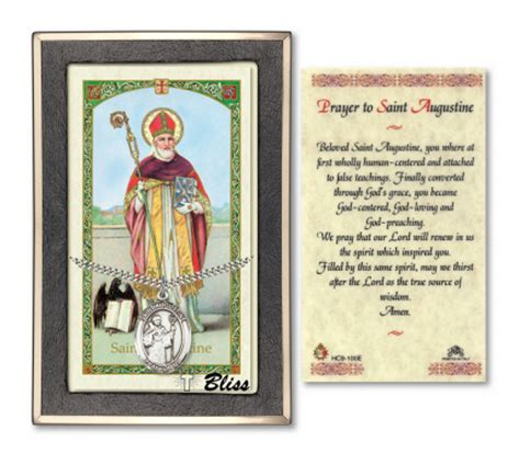 st sets for card augustine of hippo pendant and holy prayer card gift