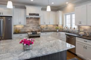 black pearl leather granite and silver cloud island contemporary kitchen boston by