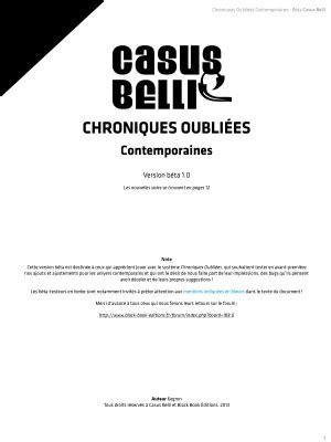 Chroniques Oubliées Contemporain Bêta • Black Book Editions