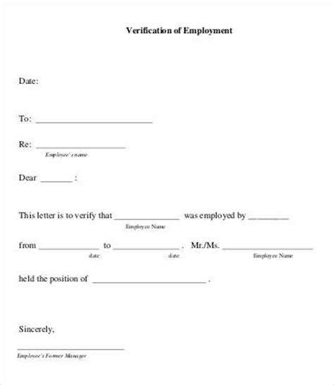 Proof Of Previous Employment Letter letter of employment verification 7 free word pdf documents free premium templates