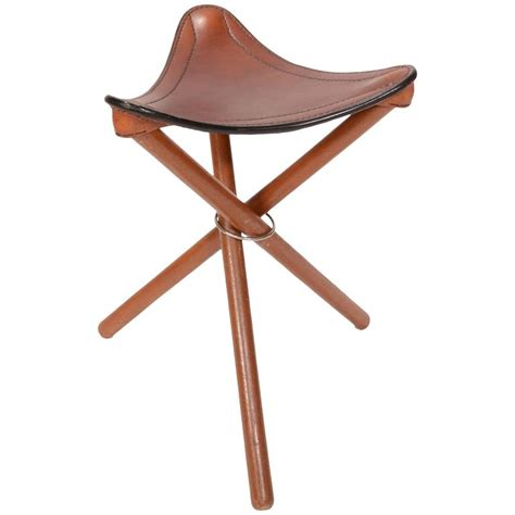 Leather Folding Stool by Teak And Leather Folding Tripod Safari Stool For