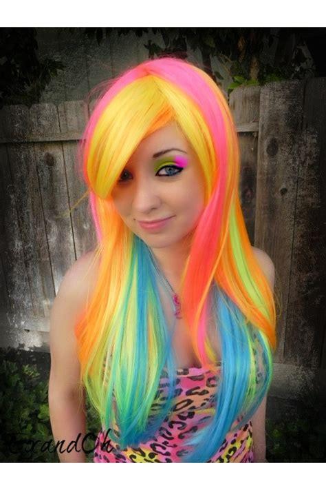 bright colored hair neon rainbow hair hair neon hair color
