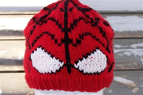 knitting pattern for spiderman hat spiderman inspired hand knit hat men women gift wrapped