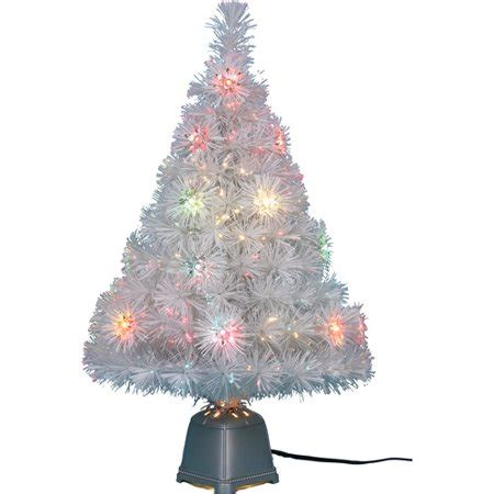 white fibre optic christmas tree time pre lit 32 quot fiber optic white artificial tree clear lights walmart