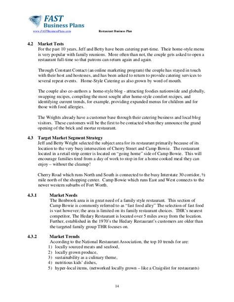 catering business plan template sle small business