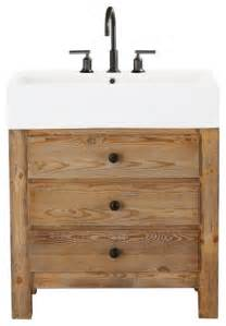 wood bathroom vanities reclaimed wood single sink console wax pine finish