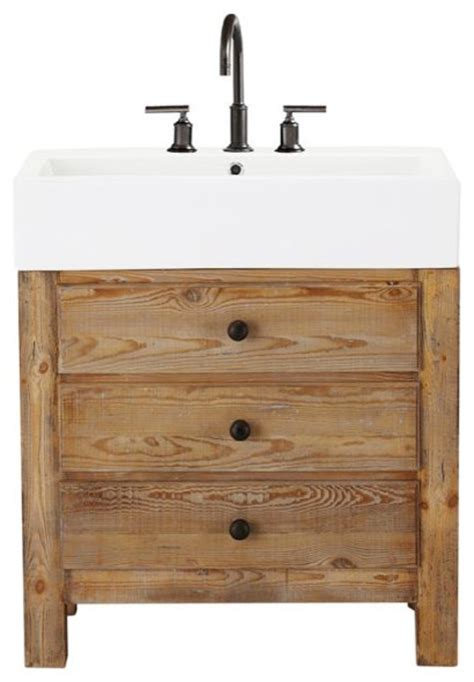 Wooden Bathroom Vanity Units Reclaimed Wood Single Sink Console Wax Pine Finish Traditional Bathroom Vanity Units