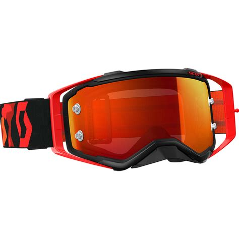 mirrored motocross goggles scott new mx prospect black fluro red chrome mirror lens