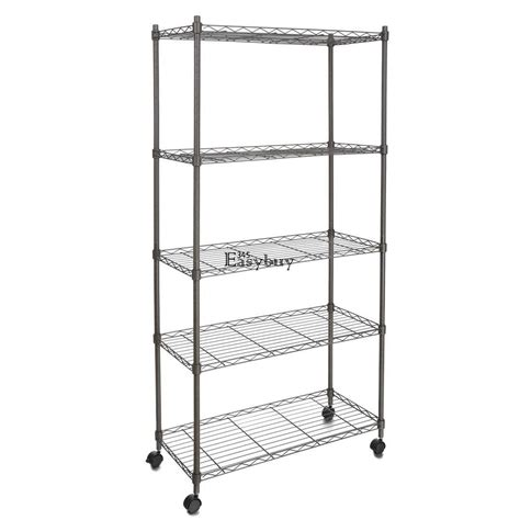 Wire Shelf Wheels by Adjustable 5 Tier Wire Shelving Rack Shelves With Wheels