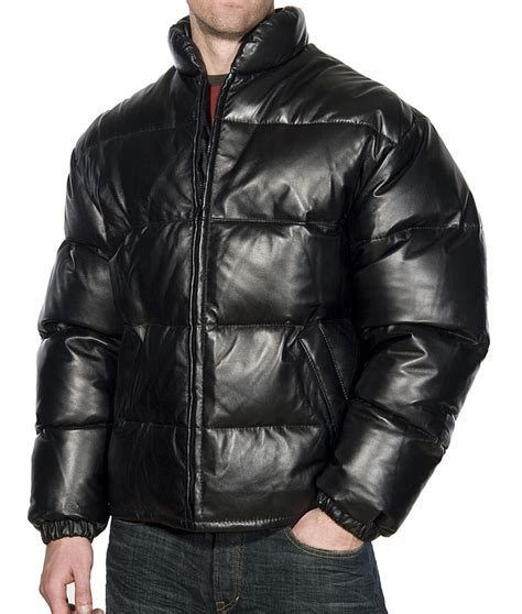 Our 28 quot goose down filled lambskin leather jacket with a stand up
