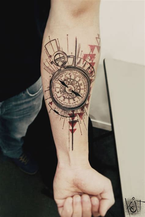 koit tattoo berlin compass tattoo arm forearm black