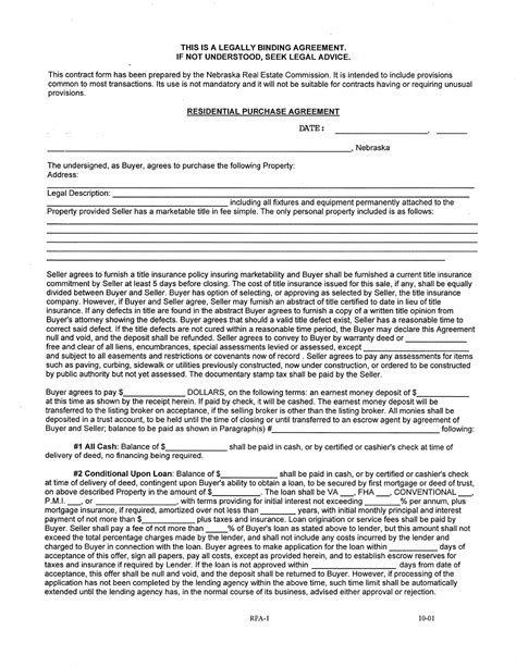 contract for buying a house template nebraska residential purchase agreement form for