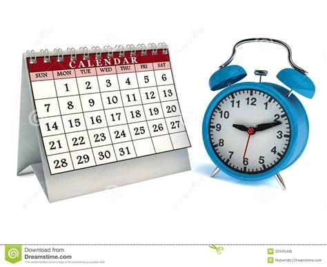 Calendar Table Clock Table Calendar And Alarm Clock Royalty Free Stock Image
