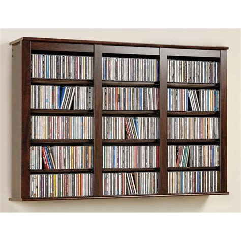 prepac wide floating cd wall rack various finishes