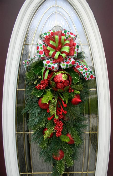 christmas door swag christmas ideas pinterest