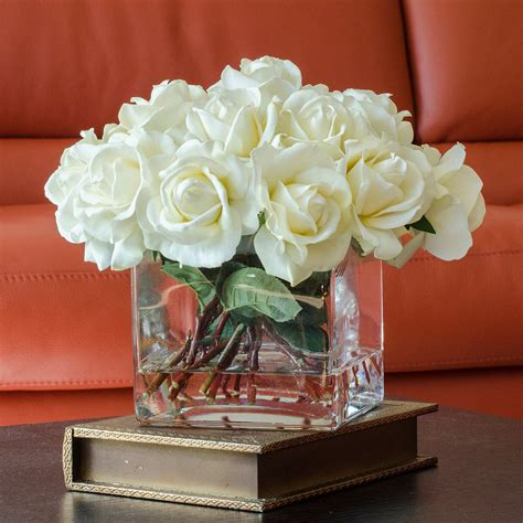 large white real touch rose arrangement with square glass vase