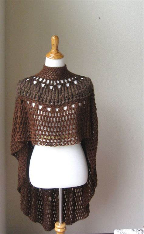 brown pattern poncho crochet poncho shawl brown fashion boho circle vest by
