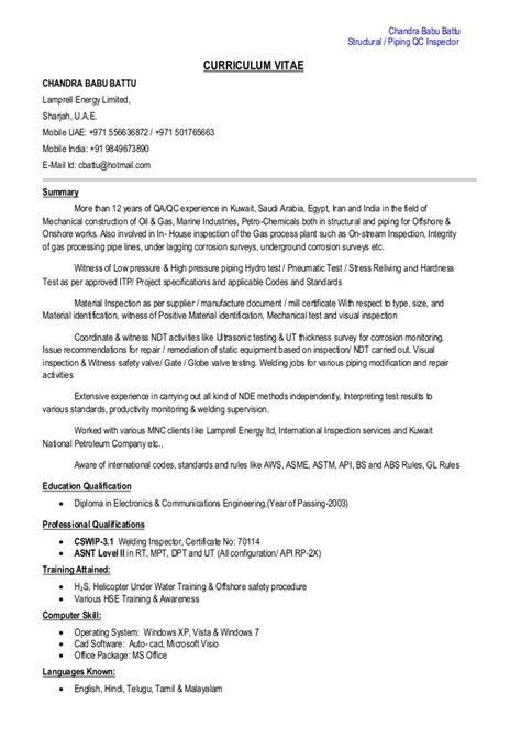 Construction Qc Manager Resume by Structural Piping Qc Inspector Cv Pdf