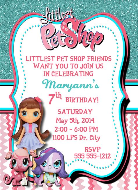Birthday Card Template Dogs by Littlest Pet Shop Personalized Birthday Invitation 1 Sided