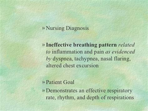 ineffective breathing pattern as evidenced by resp disorder