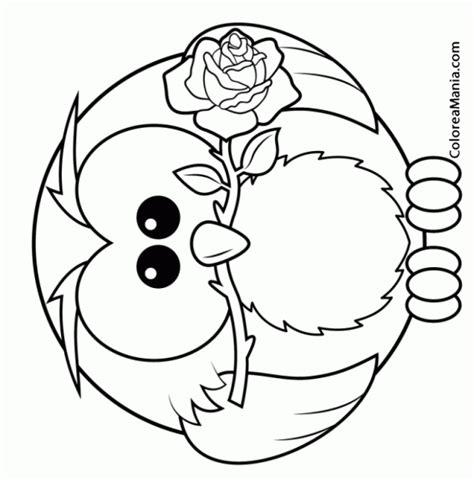 imagenes para colorear buho colorear bho con rosa en la boca aves dibujo para