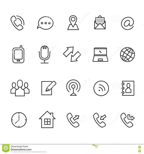 business cards templates icons communication line vector icons for business card stock