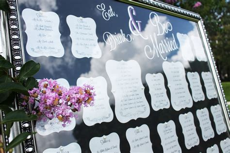 Wedding Table Seating by Framed Wedding Table Seating Chart At Outdoor Reception