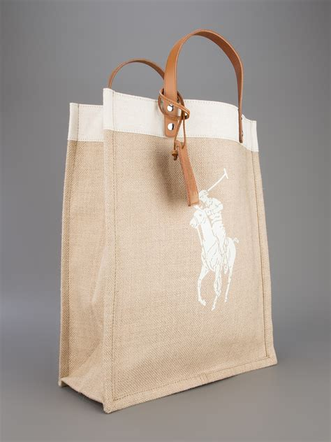 Ralph Blue Label Small Canvas Tote by Lyst Ralph Blue Label Canvas Shopper Tote In