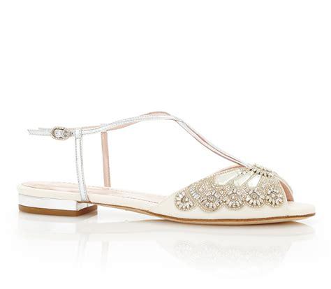Flat Sandal Wedding Shoes by Jude Silver Flat Bridal Sandal Emmy