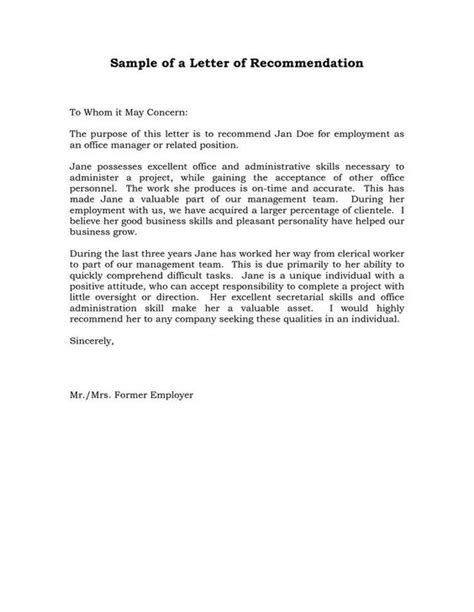 Evaluation Recommendation Letter Reference Letter Of Recommendation Sle Sle Manager Recommendation Letters L