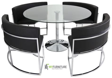 Hideaway Round Glass Dining Table And Black Chair Set Ebay Hideaway Dining Table And Chairs