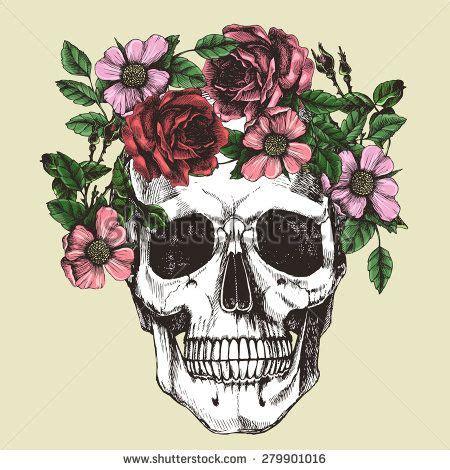 human skull and flower wreath los muertos vector