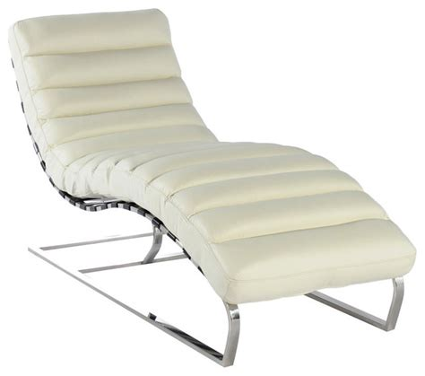 White Chaise Lounge Chair Indoor Vintage Furniture Classics Leather Ripple White