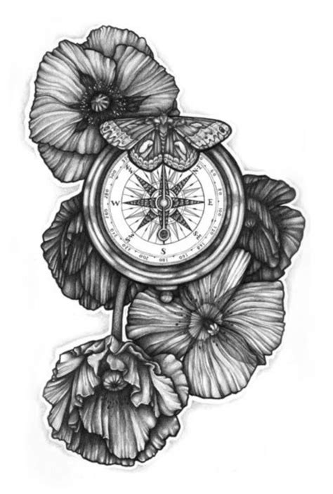 tattoo designs black and white trends black and white poppy flowers with compass