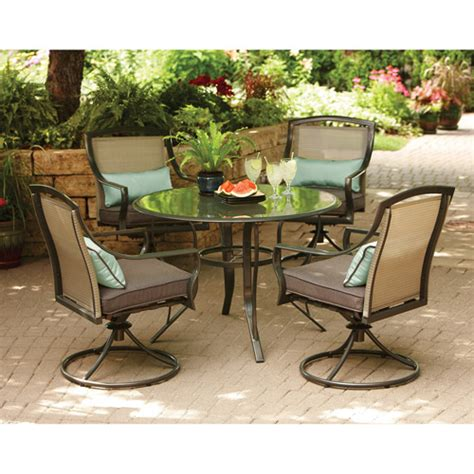 Glass Patio Furniture Aqua Glass 5 Patio Dining Set Seats 4 Walmart