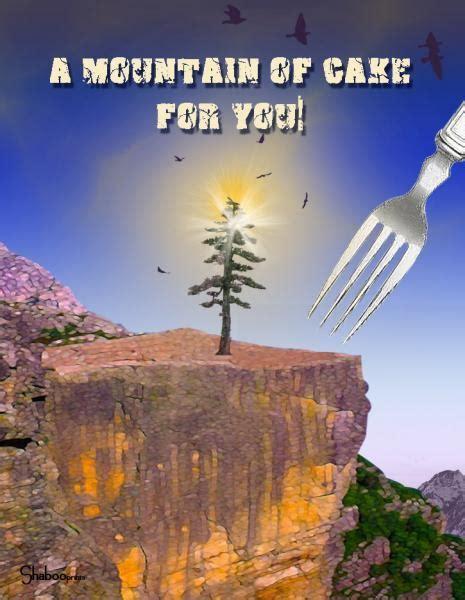 mountain  cake unique birthday card  shabooprints