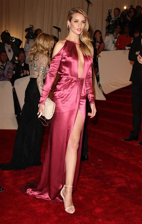 Rosie Slit Dress rosie huntington whiteley thigh high slit pink silk dress