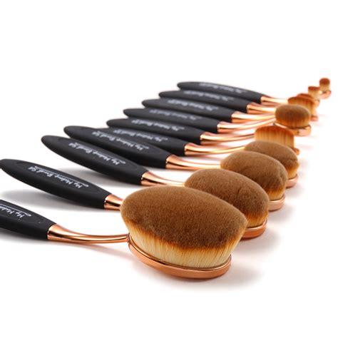 Oval Blending Brush Set 10 Free Dompet 10 black and gold oval brush set my make up brush