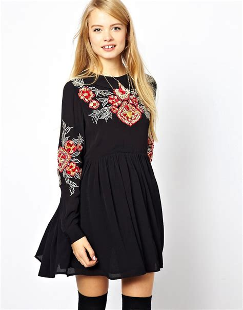 Dress Nsemock asos asos smock dress with floral embroidery at asos