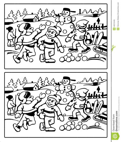 kids playing with snow find the ten differences stock