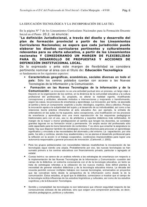 Diseño Curricular Jurisdiccional Definicion Tecnolog 237 A En El Dise 241 O Curricular Profesorado De Nivel Inicial