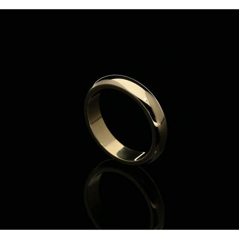 Ring 4mm 18ct yellow gold 4mm wedding ring d shape flat inner