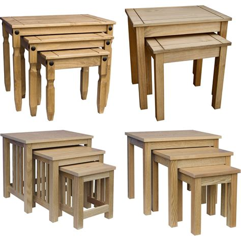 Solid Wood Living Room Tables Nest Of Tables 2 3 Table Units Solid Wood Living Room Side L Coffee Furniture Ebay