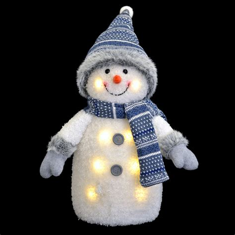 snowman decorations to make blue white light up snowman decoration with hat and scarf 33 20 15cm ebay