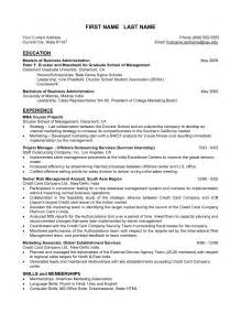 Mba Resume Templates by Resume Writing For Mba Students