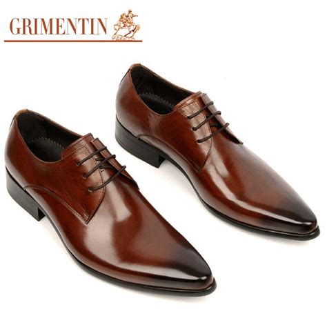 grimentin dress shoes handmade genuine leather lace up black brown italian designer wedding