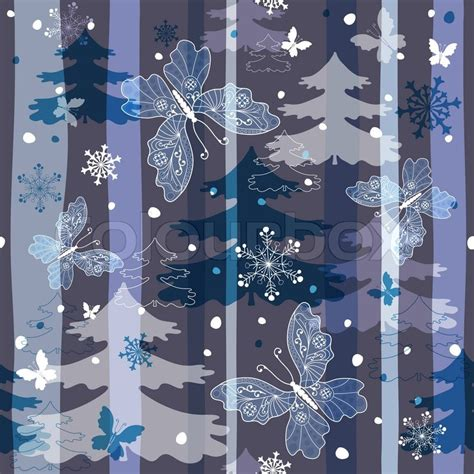 winter tree snowflakes stock vector winter repeating pattern with snowflakes trees and butterflies vector eps 10 stock vector